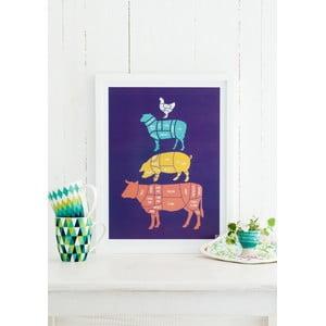 Kolorowy plakat Follygraph Meat Cuts, 21x30cm