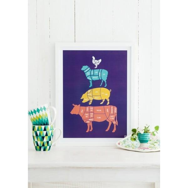 Kolorowy plakat Follygraph Meat Cuts, 40x50cm