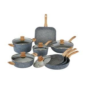 8-częściowy zestaw naczyń z pokrywkami i uchwytami imitującymi drewno Bisetti Pierre Gourmet Cristina