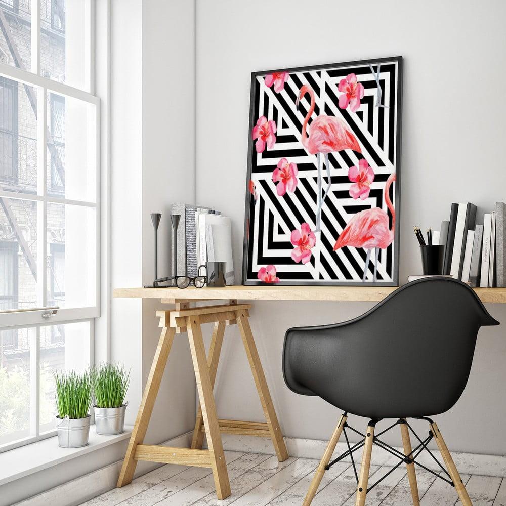 Plakat Z Flamingiem Czarno Białe Tło 30 X 40 Cm Bonami