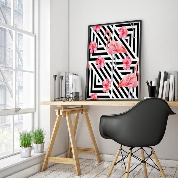 Plakat z flamingiem, czarno-białe tło, 30 x 40 cm