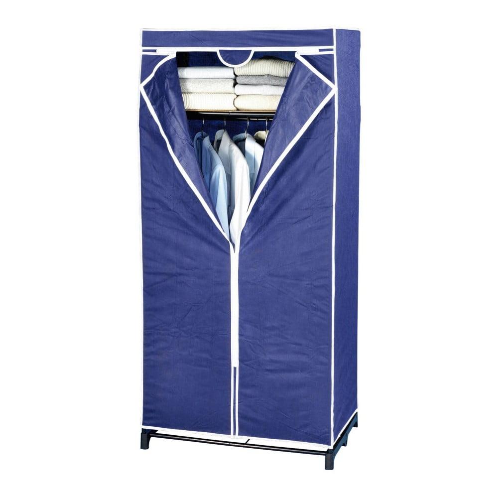 Niebieska szafa tekstylna Wenko, 160x50x75 cm