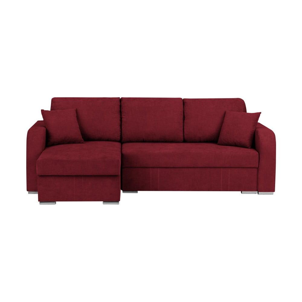 Ciemnoczerwona 3-osobowa narożna rozkładana sofa ze schowkiem Melart Louise