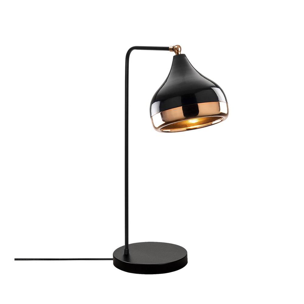 Czarna lampa stołowa z elementami w kolorze miedzi Opviq lights Yildo
