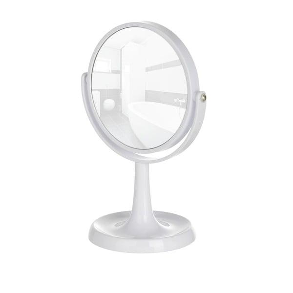 Białe stojące lusterko kosmetyczne Wenko Rosolina, wysokość 28 cm