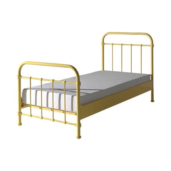 Żółte metalowe łóżko dziecięce Vipack New York, 90x200 cm