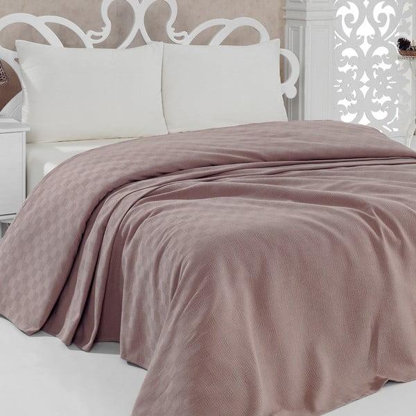 Lekka narzuta na łóżko Pique Brown, 200x240 cm
