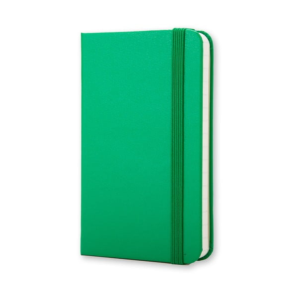 Jaskrawo-zielony mininotes Moleskine, strony w linie