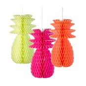 Papierowe dekoracje Fluro Pineapple, 3 sztuki