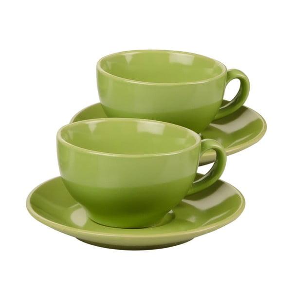 Komplet 6 filiżanek z podstawkami Kaleidoskop, zielony