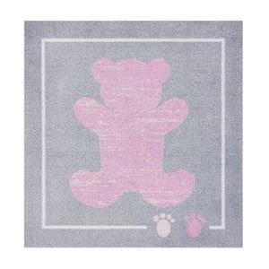 Różowo-szary dywan Zala Living Teddy, 100x100 cm