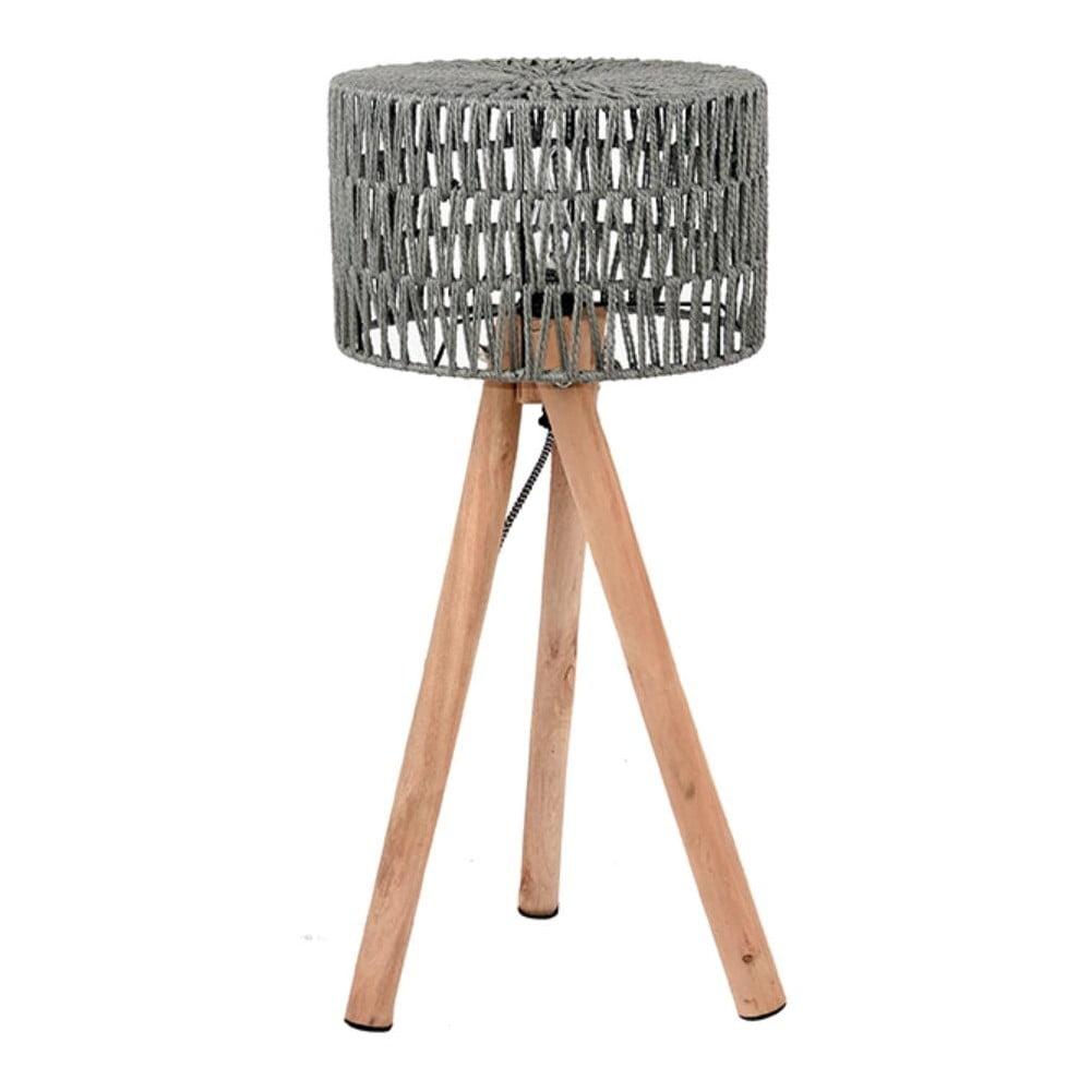 Szara lampa stołowa z drewna mango LABEL51 Stripe