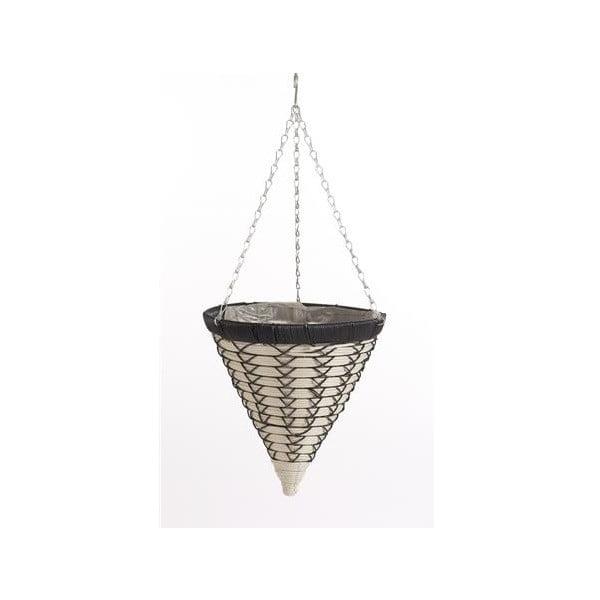 Podwieszana rattanowa doniczka Luxury Cone