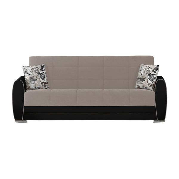 Ciemnobeżowo-szara trzyosobowa sofa rozkładana ze schowkiem Esidra Rest