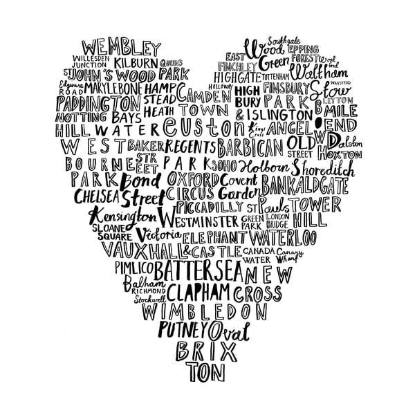 Ścierka kuchenna London Heart, 48x78 cm