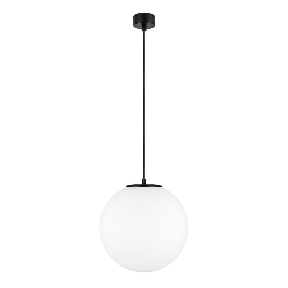 Biała lampa wisząca z oprawką w czarnym kolorze Sotto Luce TSUKI L