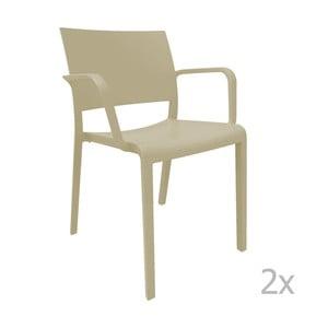 Zestaw 2 beżowych krzeseł ogrodowych z podłokietnikami Resol Fiona