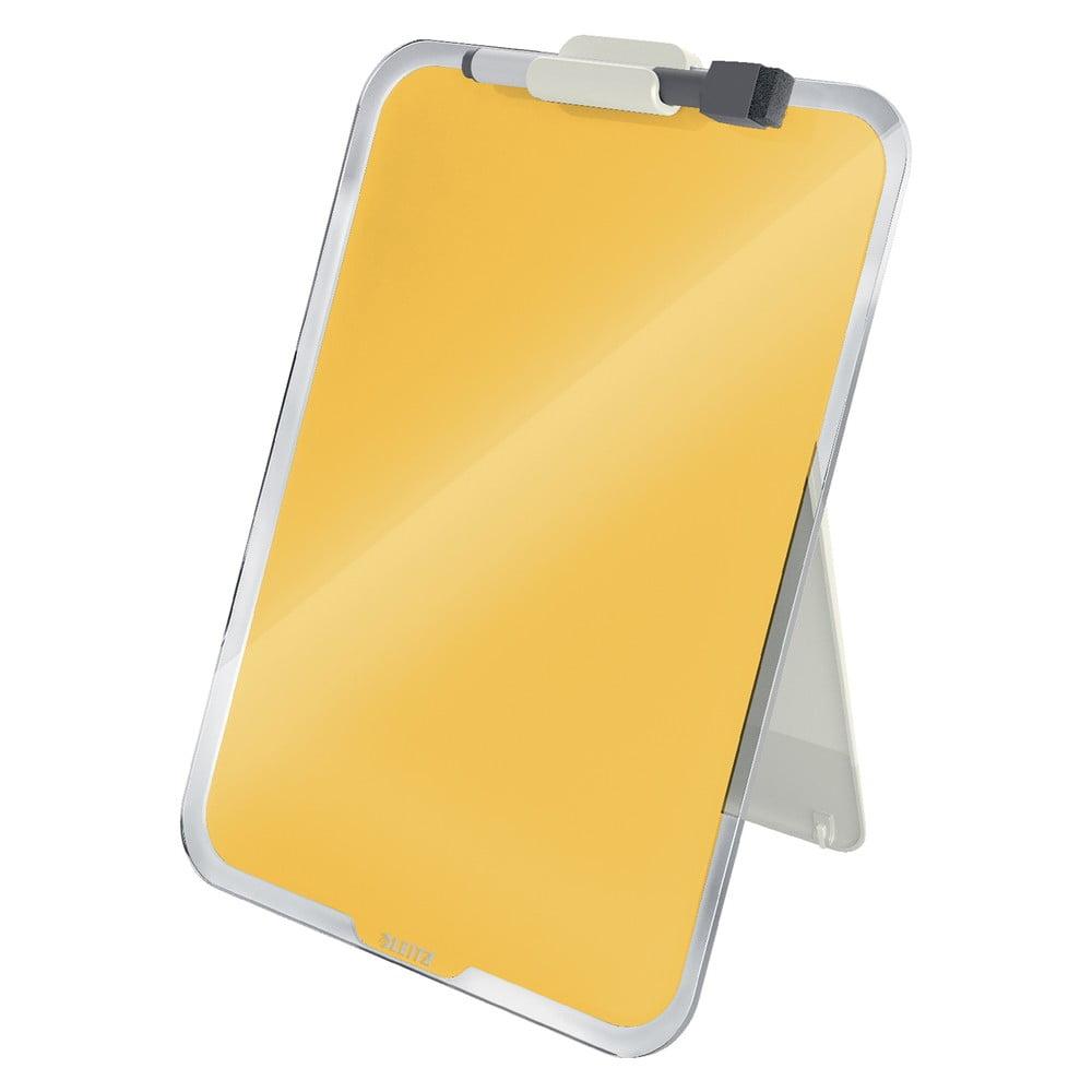 Żółta szklana tabliczka na biurko Leitz Cosy, 22x30 cm