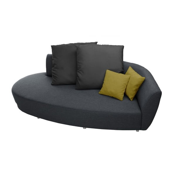 Sofa trzyosobowa z oparciem po prawej stronie Florenzzi Viotti Light Anthracite/Yellow