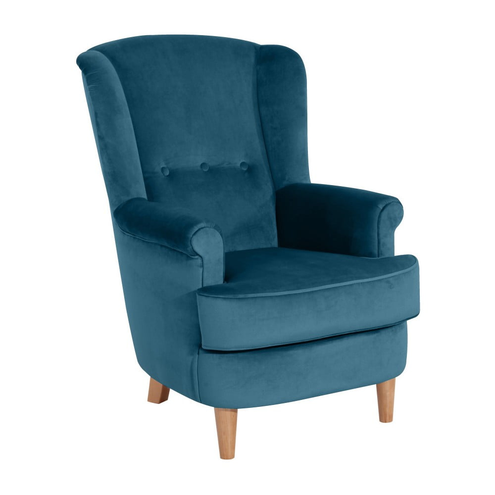 Niebieskozielony fotel Max Winzer Kendra Velvet
