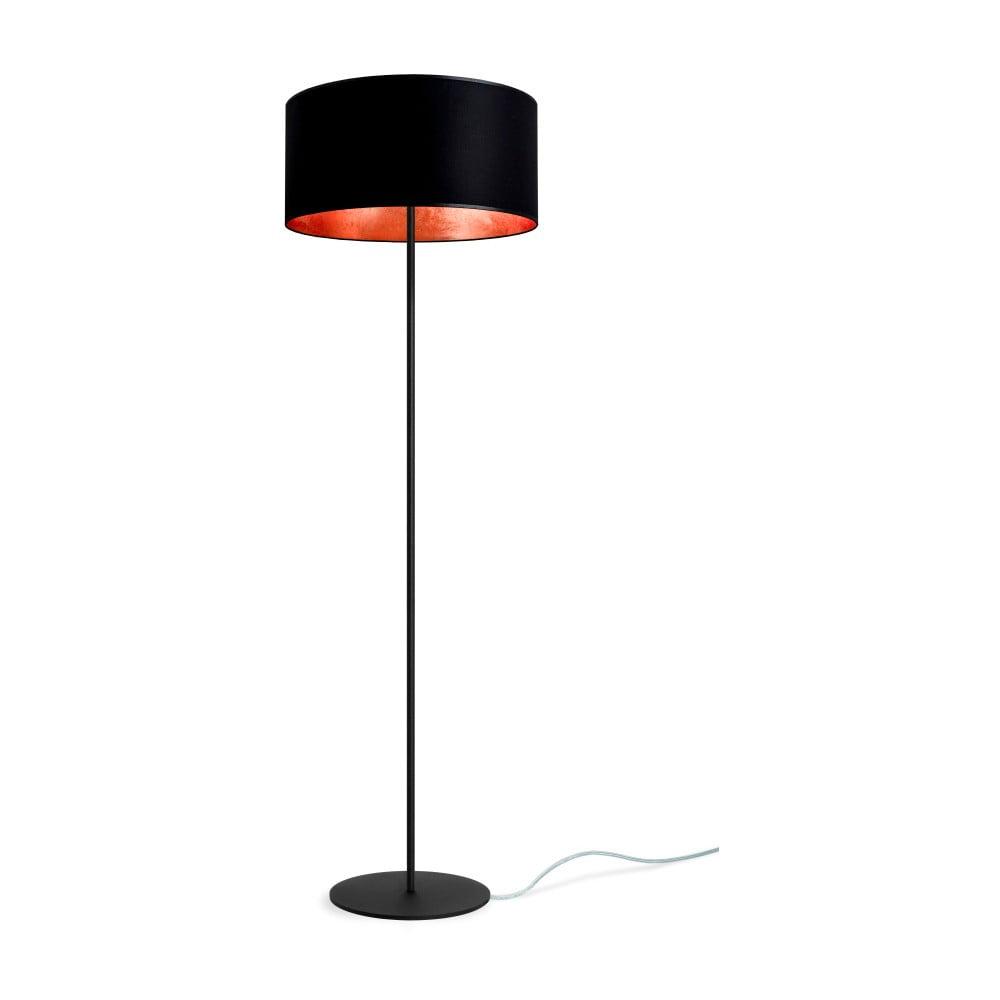 Czarno-miedziana lampa stojąca Sotto Luce Mika, Ø40 cm