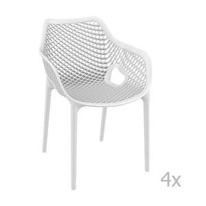 Zestaw 4 białych krzeseł ogrodowych z podłokietnikami Resol Grid