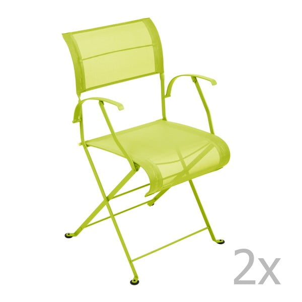 Zestaw 2 limonkowych krzeseł składanych z podłokietnikami Fermob Dune