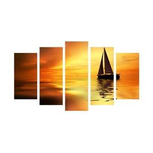 5-częściowy obraz Boat in Sunset, 60x100 cm