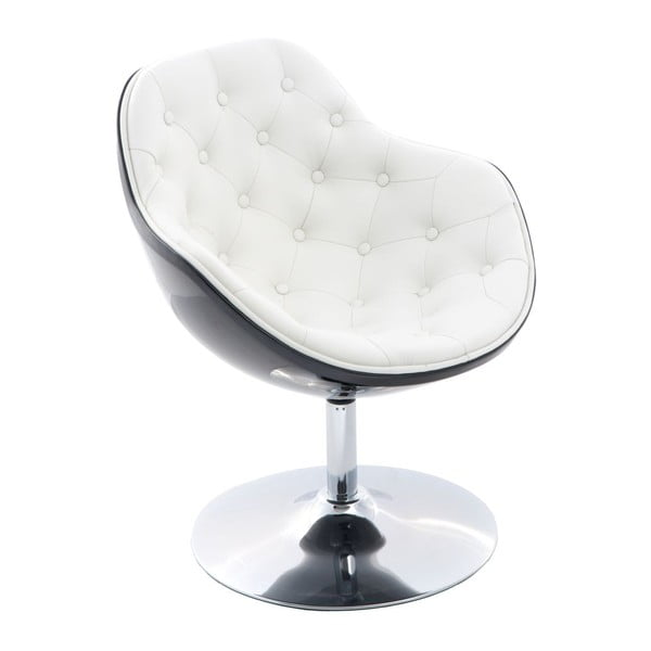 Krzesło obrotowe Pezzo, przeszywane, czarne/białe