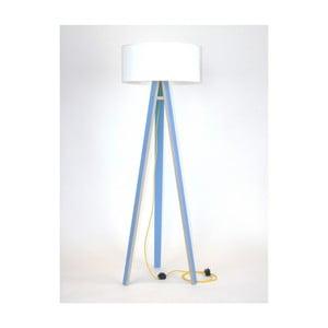 Niebieska lampa stojąca z białym abażurem i żółtym kablem Ragaba Wanda