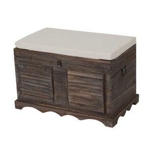 Brązowa ławka ze schowkiem Mendler Shabby