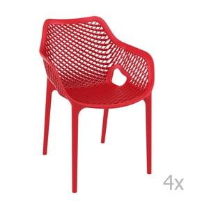 Zestaw 4 czerwonych krzeseł ogrodowych z podłokietnikami Resol Grid