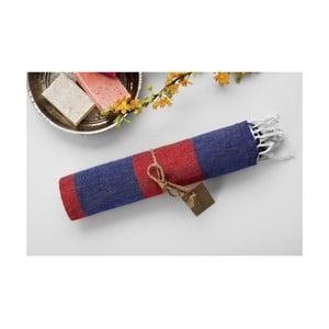 Ręcznik hammam Myra Dark Blue Red, 100x180 cm