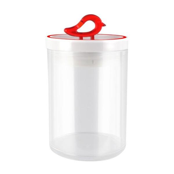 Przezroczysty pojemnik z czerwonym detalem Vialli Design Livio, 0,8 l