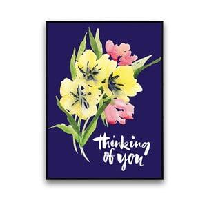 Plakat z kwiatami Thinking Of You, niebieskie tło, 30 x 40 cm