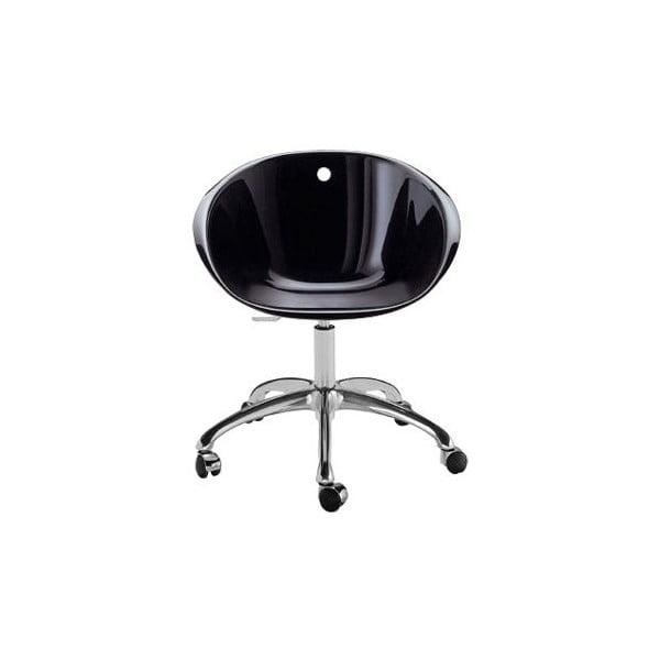 Czarne krzesło na kółkach Pedrali Gliss