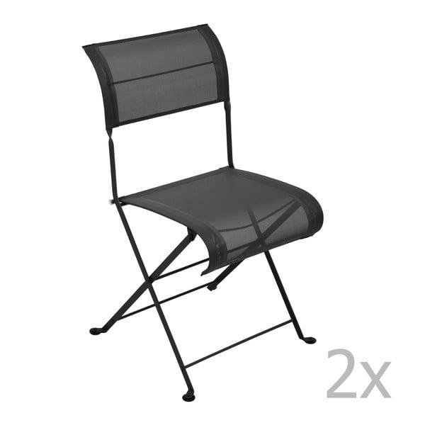 Zestaw 2 czarnych krzeseł składanych Fermob Dune
