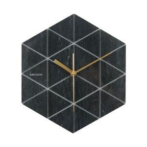 Czarny zegar Karlsson Marble Hexagon