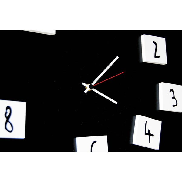 Zegar ścienny dESIGNoBJECT.it Changing Clock Black, 50 x 50 cm