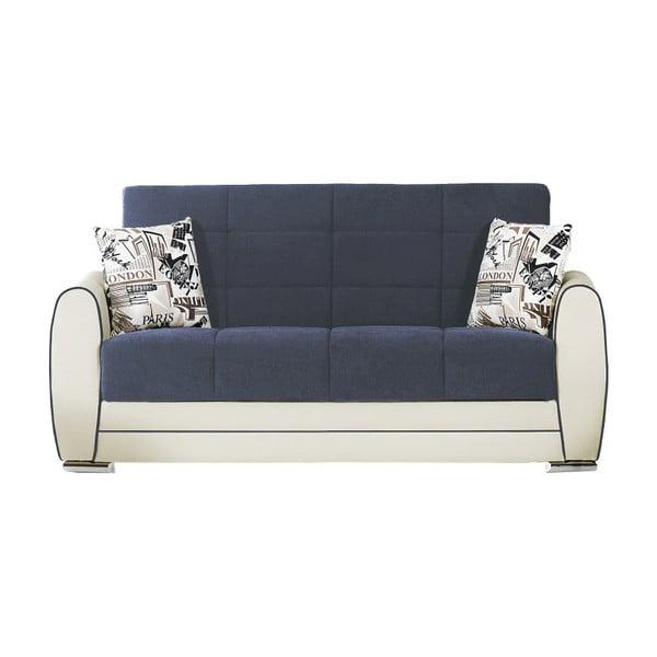 Ciemnoniebiesko-kremowa dwuosobowa sofa rozkładana ze schowkiem Esidra Rest