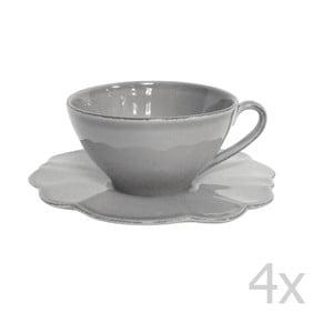 Zestaw 4 filiżanek ze spodkiem Grey Petale, 250 ml