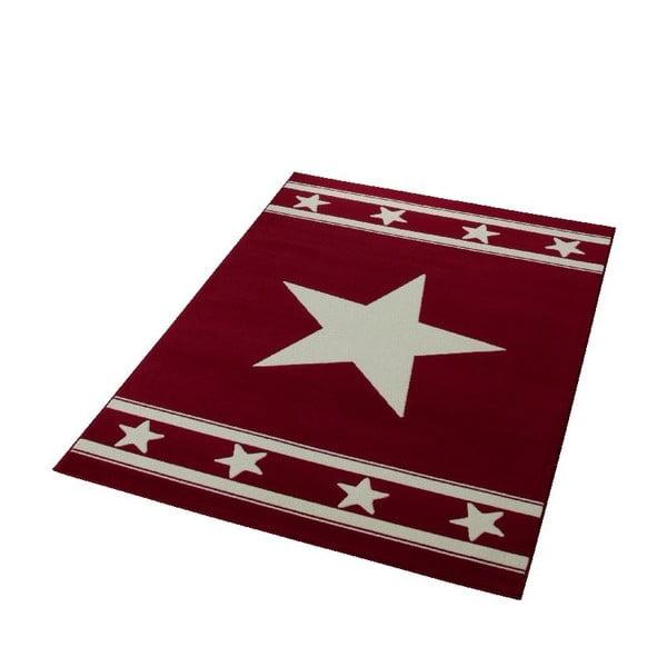 Dywan City & Mix - czerwony z gwiazdą, 140x200 cm