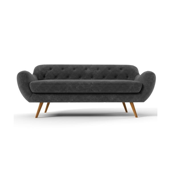 Ciemnoszara   sofa trzyosobowa Wintech Zefir