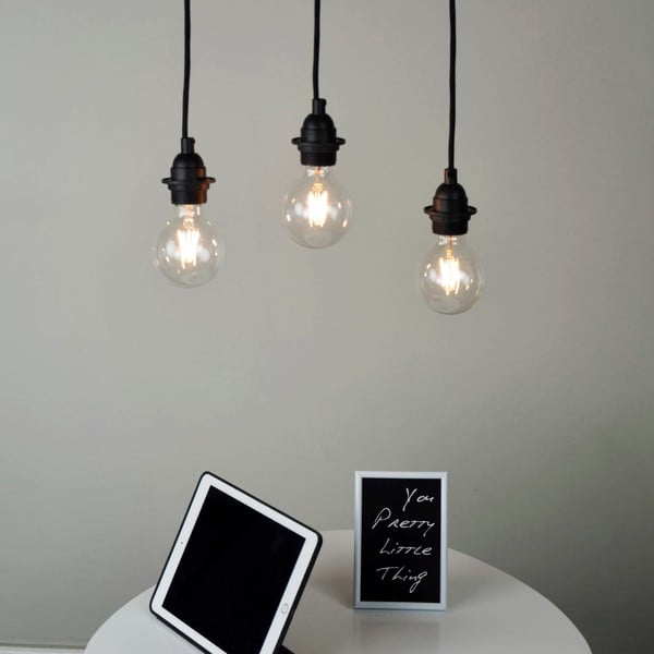 Czarna   potrójna lampa wisząca Bulb Attack Uno Primary