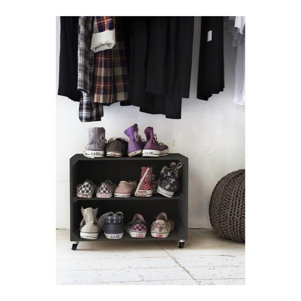 Rustykalna, drewniana szafka na buty Really Nice Things Shoe, czarna
