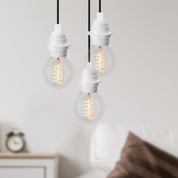 Trzyramienna lampa wisząca Uno Basic, biało-czarna