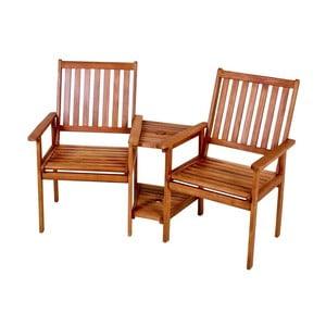 Zestaw 2 połączonych krzeseł ogrodowych z drewna eukaliptusowego ADDU Edison