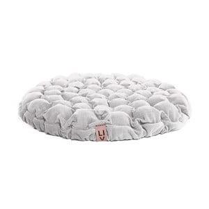 Biała poduszka do siedzenia wypełniona piłeczkami do masażu Linda Vrňáková Bloom, Ø 75 cm