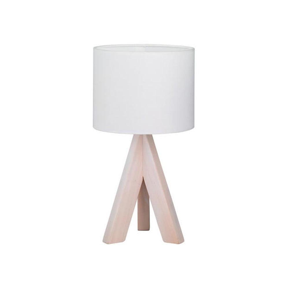 Biała lampa stołowa z naturalnego drewna i tkaniny Trio Ging, wys. 31 cm