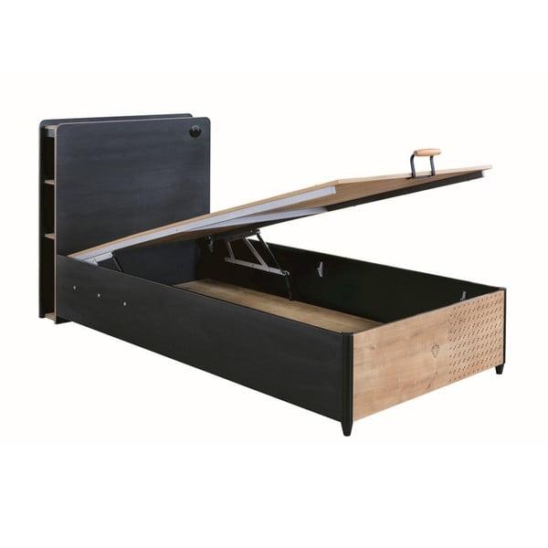 Czarne łóżko jednoosobowe ze schowkiem Black Bed With Base, 100x200 cm